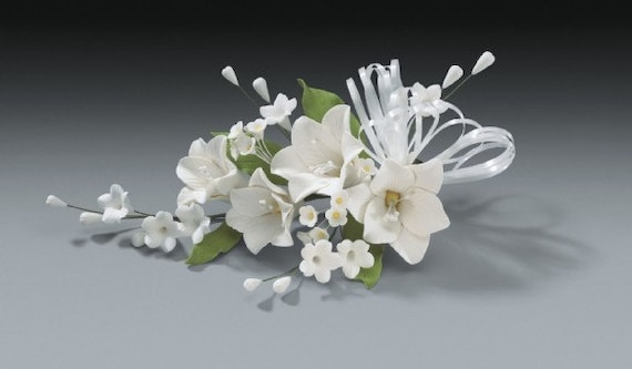 2 sets of lily stephanotis white gum paste flower spray for. Black Bedroom Furniture Sets. Home Design Ideas