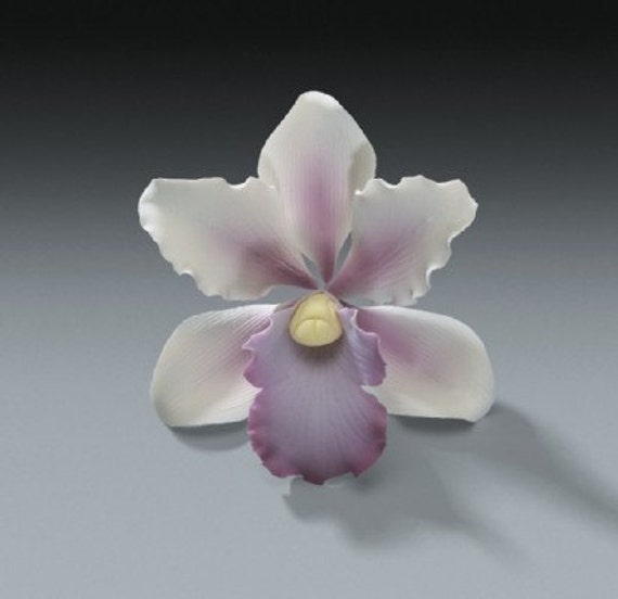 3 Tropical Orchid Gum Paste Flowers for Weddings and Cake Decorating - Ships Insured!