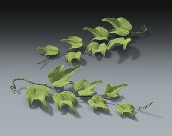 6 Ivy Green Leaves in Gum Paste for Weddings and Cake Decorating - Ships Insured!