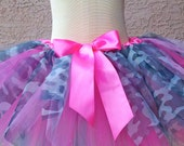 Hot Pink Camouflage Tutu, Camo Tutu, Halloween Costume, First Birthday, Gray
