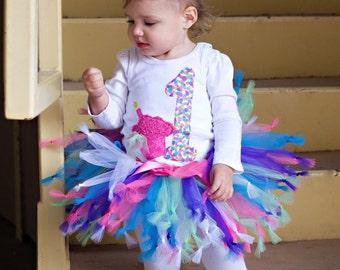 Surprise Party Knotty Tutu, Birthday Tutu, First Birthday, knotted tutu, Rainbow Tutu