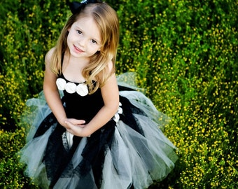 Ebony and Ivory Lace Flower Girl Tutu, Classic, Vintage, Wedding Tutu