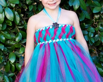 Teal and Rasberry Glitzy Glam Empire Tutu Dress, Flower Girl Dress, Hot Pink, Aqua, Birthay Dress, Glitter Dress, Tulle Dress