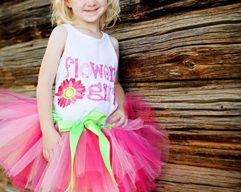 Flower Girl Rehearsal Tutu, flower girl gift, bridal party gift, hot pink, custom colors