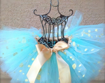 Aqua Blue and Gold Tutu