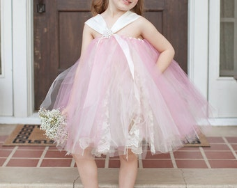 As seen on Wedding Chicks, Vintage Lace Tutu Flower Girl Dress, Shown in Rose and Ivory