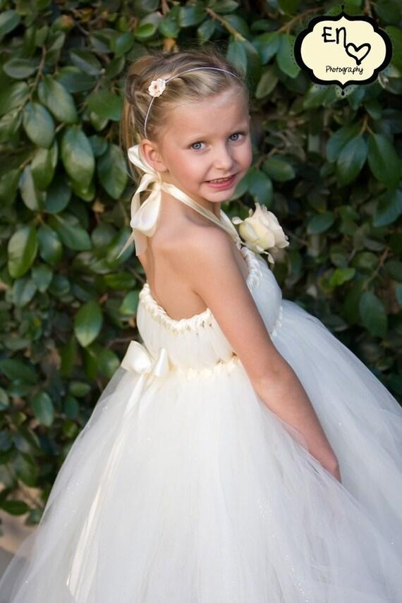 Ivory Glitzy Glam Flower Girl Empire Tutu Dress, Ivory Glitter, Sparkle, Classic, Wedding, Bridal, As Seen on TLC's 4 Weddings