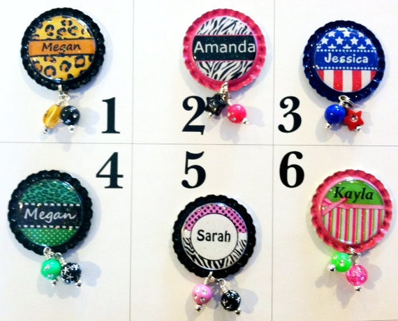 TOP Only**Personalized Interchangeable Badge Reel Tops (Set A)  *PICK one*