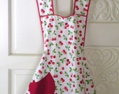White and Red Cherry Retro Apron
