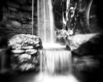 waterfall photo, photography print, black and white, landscape, home decor, holga, water, abstract, nature, surreal, photo, dreamy, zen, art