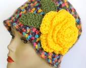 Flapper Hat Crochet Cloche Flower - Ready to Ship - Turquoise, yellow, pink, purple