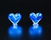 Lampwork Bead Set / Laguna Blue Mini Hearts / SRA
