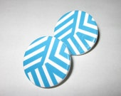 Vintage 1980's Blue and White Striped Earrings