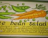 VINTAGE 1969 Soovia Janis Three Bean Salad Wall Hanging Art Print Designed by PATI