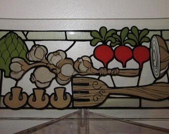 Vintage 1970's Large Vegetable Art Rectangular Glass Tray