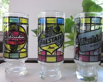 Three Vintage 1970's BEER Logo Glasses - Falstaff, Black Label & Schaefer