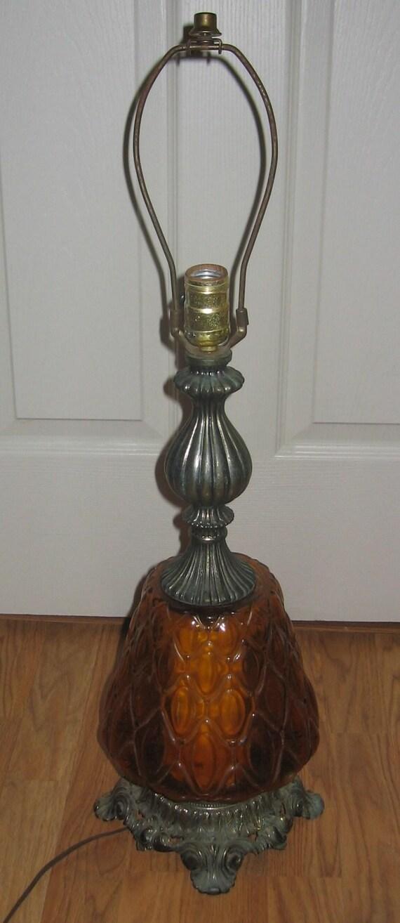 Vintage 1971 Amber Glass Optical Lamp By Llwmc