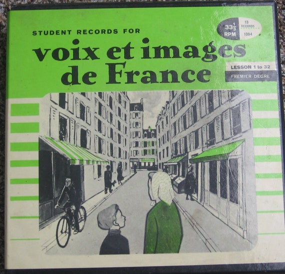 Vintage 13 Record Box Set Student LP Records for Voix Et Images de France - Chilton Books