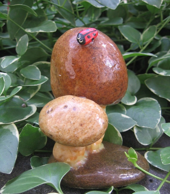 Vintage 1970's Real Rock Mushroom Sculpture with Lady Bug