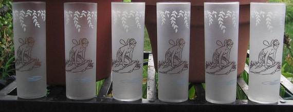Set of 6 WHITE ROCK Frosted Glasses with Psyche