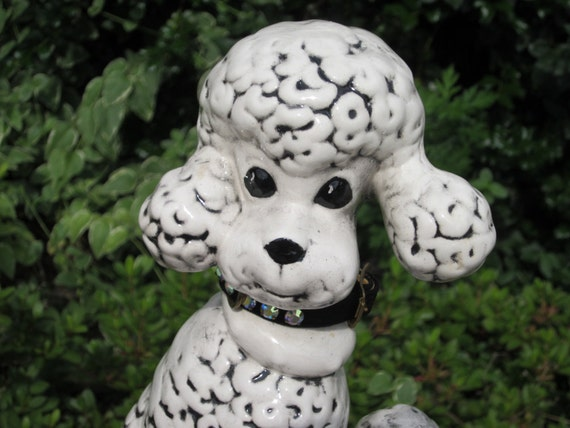 Vintage 1960's Ceramic POODLE Figure with real Rhinestone collar