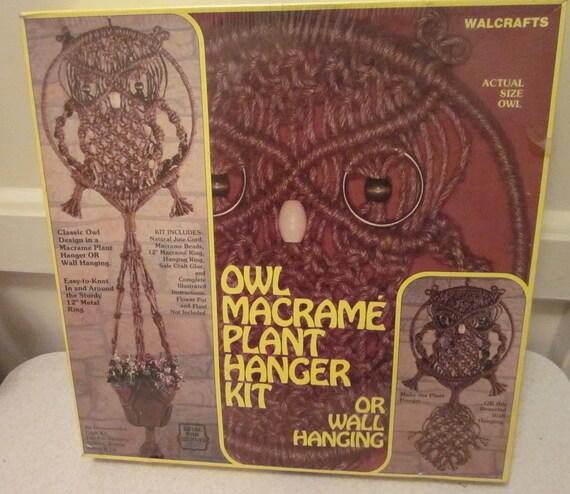 Vintage Owl Macrame Plant Hanger Kit New In Box Diy