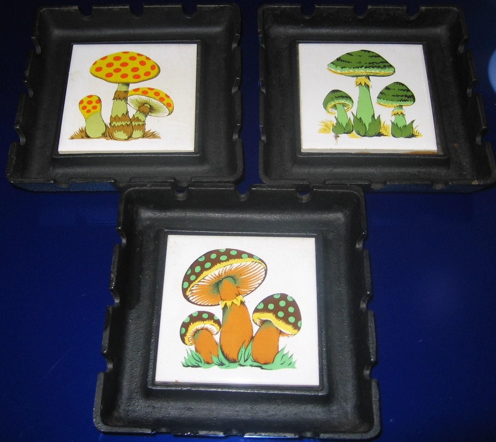 Three Vintage Colorful Mushroom Ashtrays or by HappilyEraAfter