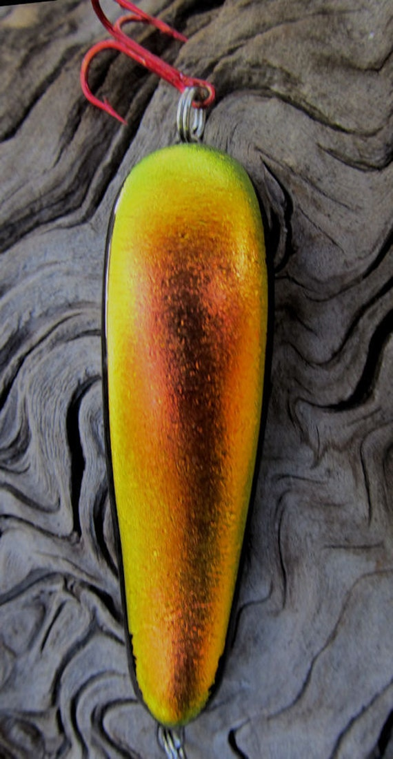 Dichroic Glass fishing lure Made by Untamed Lures / Golden Red Orange