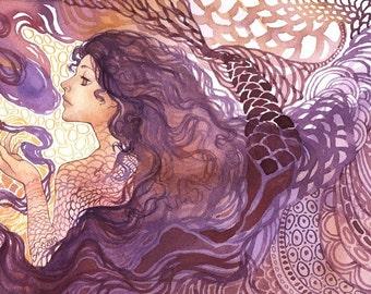 "Abstract Fantasy Goddess Painting ""Dream Vapors"" ARCHIVAL ART PRINT"