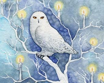 "Mystic Spiritual Winter Owl Watercolor Painting ""Spirits of Winter"" ARCHIVAL ART PRINT 8x10"