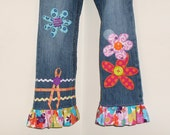 Retro Flower Ruffle Jean 2 3 4 5 6 6X 7 8 10 12 14 16 Custom Boutique ABSD