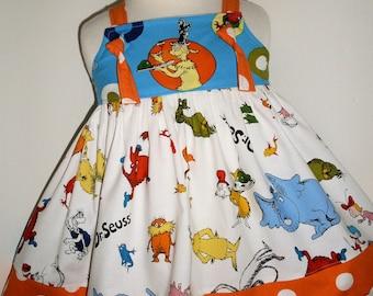Dr. Seuss Knot Dress Green Eggs Ham 12M 18M 2 3 4 5 6 7 8 10 12 14 Custom Boutique Birthday Handmade by That's So Addie Vacation Celebration