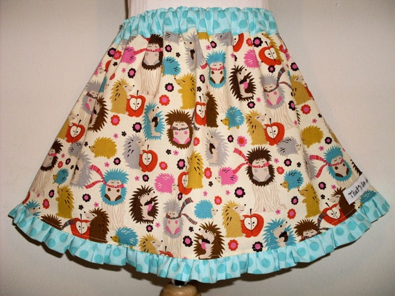 Hedgehogs A Line Skirt 2 3 4 5 6 7 8 Custom Boutique ABSD Birthday
