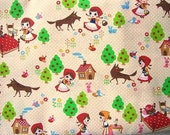 Cute Japanese Cotton Fabric - The Little Red Riding Hood  (F358)