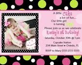 Polka Dots Birthday Party Invitation (You Print)