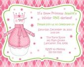 Snow Princess-Prince Winter One-derland Birthday Invitation ( You Print)