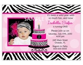 Zebra With Hot Pink And Birthday Cake, Cupcake Photo Card Invitation (Digital File)