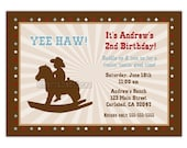 Little Cowboy Silhouette Birthday Party Invitation (You Print)