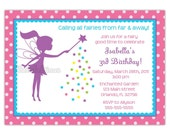 Little Fairy Silhouette Birthday Party Invitation Choose Fairy (You Print)