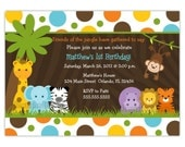 Dotty Wild Jungle Birthday or Baby Shower Invitation Boy or Girl (You Print)