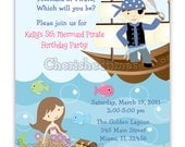 Vertical Mermaid And Pirate Birthday Invitation (You Print)