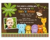 Wild Jungle Theme Birthday Party Invitation -Boy Or Girl- (You Print)