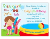 Pool Party Birthday Invitation Girl or Boy (You Print)