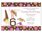 Gymnastics Girl Birthday Party Invitation With Picture or Without (U Print)..Boy available in this design.