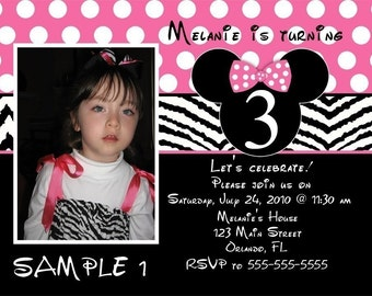 Mouse Ears And Zebra Print Birthday Invitation With or Without Picture (Any Color, Digital File)