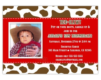 Cow Print Little Cowboy  Birthday Photo Card Invitation (You Print)