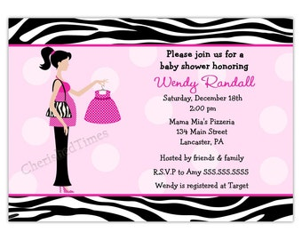 Mod Zebra Mom to-Be Baby Shower Invitation Pink or Blue (You Print)