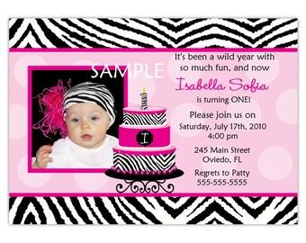 Zebra With Hot Pink And Birthday Cake, Cupcake Photo Card Invitation (Digital File)