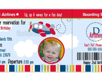 Airplane Boarding Pass Birthday Invitation Boy Or Girl (You Print)