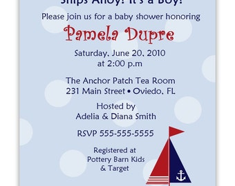 Nautical Baby Shower Or Birthday Photocard Invitation (Digital File)